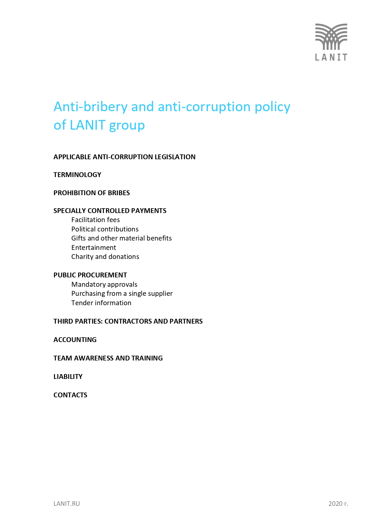 ANTI-BRIBERY AND ANTI-CORRUPTION POLICY OG LANIT GROUP